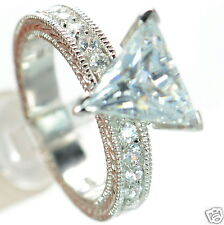 Solid 925 Sterling Silver Trillion Cut CZ Solitaire Ring Size-6 '