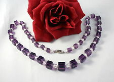 Gorgeous Purple Glass Cube Beaded Necklace  CAT RESCUE