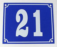 """Aluminium Hausnummer """"21"""" 12x10cm blau Hausnummernschild sofort lieferbar Schild"""