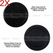 2x M4/3 Rear Lens Cap +Micro 4/3 Camera Body Cover for Olympus OMD EM1 EM5 EM10