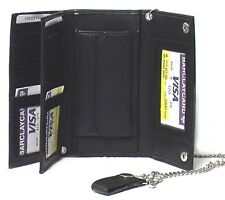 Elegant Faux Leather Men's Tri-fold Biker / Truckers' Wallet Black #4795 CAN