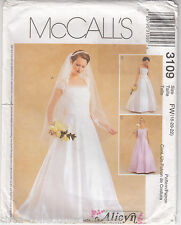 Wedding Gown Bridal Dress  McCalls Sewing Pattern 3109 Szs 18-22 Flared Uncut