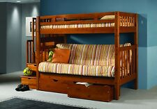 Staircase Loft Bed with Futon - Honey Finish Futon Bunkbed - FREE Shipping