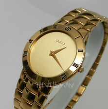 Mens Authentic Swiss Made Gucci Gold Dial & Case Roman Numeral Bezel Watch