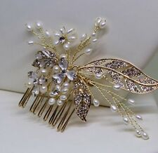 Ivory Pearl Diamanté Crystal Gold Hair Comb Bridal Wedding Vintage style
