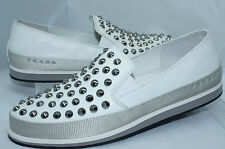 Prada Women's Shoes White Flats Size 36.5 Nappa Sport Lux Spike Loafers NIB