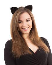CAT EARS ON HEADBAND SHINY FOR ANIMAL PARTY FANCY DRESS ACCESSORY