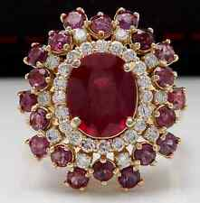 9.57 Carats Natural Red Ruby and Diamond 14K Solid Yellow Gold Ring
