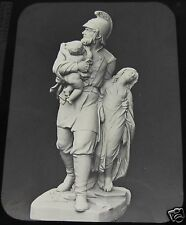 Glass Magic Lantern Slide THE FIREMAN BY G HALSE STATUE C1890 PHOTO
