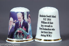 William & Kate Laying Wreath In New Zealand To The Lost of WW1 Thimble B/160