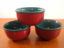 Culinary Arts Stoneware Images 3 Soup Bowls Bowl Black Specks Green Dark Red