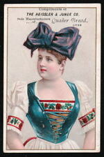 QUAKER BREAD Heissler Junge Co Victorian Trade Card Girl HUGE Hair Bow & Corset
