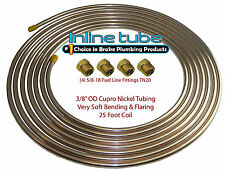Copper Nickel Fuel Line Tubing Kit 3/8 OD 25 Ft Coil Roll & 5/8-18 Fittings CN6