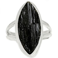 SSS BTRR95 Black Tourmaline Rough 925 Sterling Silver Ring Jewelry s.7