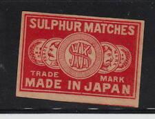 Ancienne    étiquette   Allumettes Japon   15789 Monnaie