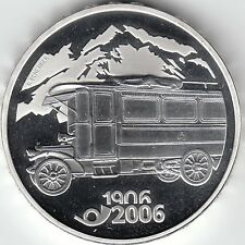 """SWITZERLAND 20 FRANCS 2006 """"100 years of post bus"""" SILVER UNCIRCULATED"""