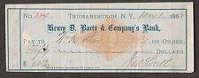 1882 check J M Lovell Henry D Barto & Company's Bank Trumansburgh NY to Wm Shaw