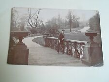G176 Old Real Photo Postcard YOUNG MAN In a Park In Leeds