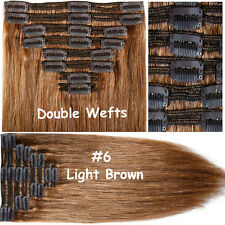 Extra Thick 250g Clip In Remy Human Hair Extensions Full Head Double Weft US A17