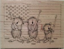 """NEW! HOUSE MOUSE by STAMPENDOUS """"Patriotic Painter"""" Wood Mounted Rubber Stamp"""