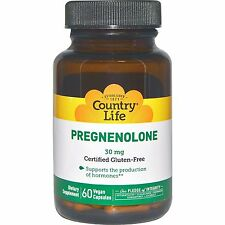 COUNTRY LIFE - PREGNENOLONE - 60 x 30mg VEG CAPS - GLUTEN FREE