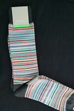 Paul Smith Mens Socks Signature Stripes Elephant Grey F599 One Size Cotton Mix