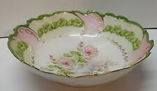 Large Bowl Green and Pink with Flowers Wavy Rim Wheelock Vienna Austria Vintage