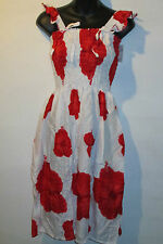 Dress Fit XL 1X 2X Plus Sundress White Red Floral Baby Doll Style Ruffle 999 B