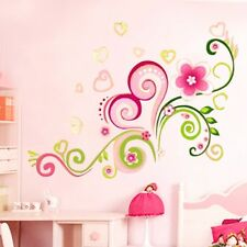 Pink Vine Vinyl Flowers Floral Butterfly Leaf Removable Wall Art Stickers Decal