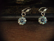 Vintage Montana Blue & AB Sapphire Crystal Drop Pierced Earrings
