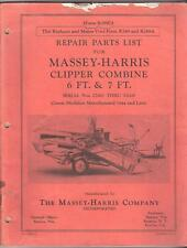 REPAIR PARTS MANUAL for MASSEY - HARRIS CLIPPER COMBINE 6ft & 7ft
