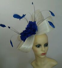 Ivory and royal blue fascinator races, ascot hatinator wedding hat statement