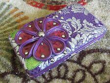 Women's Purple Flower Wallet, Clam Shell, Very decorative, L@@K, Great Shape