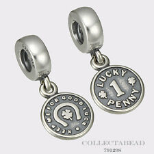 Authentic Pandora Sterling Silver Hanging Lucky Penny Bead 791298