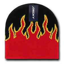 Decky Fire Flames Tribal Beanies Hats Caps Ski Skull Short Uncuffed Winter