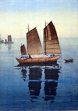 3 Authentic Japanese Woodblock Boating Prints Repro Old Pictures Set Poster NEW