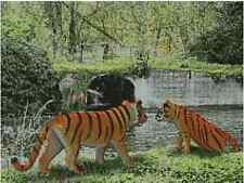"""Tigers At The River Counted Cross Stitch Kit 15"""" x 11.25"""" 38.3cm x 28.5cm A2336"""