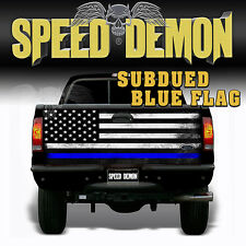 American Flag Subdued Blue Stripe Police  TAILGATE WRAP Graphics Decal Truck