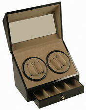 BLACK WOOD 4+ 4 AUTOMATIC DUAL DOUBLE QUAD WATCH WINDER DISPLAY STORAGE BOX/CASE