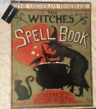NEW Halloween Heavy METAL Witches Spell Book POTION SIGN Porcelain Black Cat