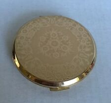 Vintage STRATTON Gold/Copper Tone Etched Floral Round COMPACT NEW