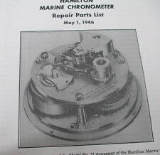 HAMILTON  SHIP CHRONOMETER  CLOCK SERVICE MANUAL BOOK