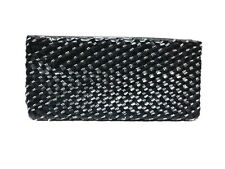 CC Skye BENETAR Faux Leather Black Evening Clutch w/ Woven Silver Chain NEW