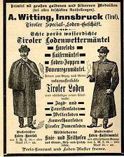 A.Witting Insbruck TIROLER SPECIAL LODEN GESCHÄFT Historische Reklame von 1895