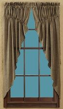"PRAIRIE SWAG CURTAINS 72"" W X 63"" L BLACK CHECK LINED COTTON CHECK SIZE 1/2 IN"
