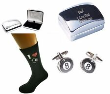 POOL 8 ball Socks + Cufflinks Engraved Chrome Case Personalised Christmas gift
