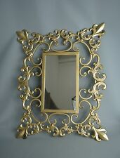 Gold metal wall mirror Shabby Chic style with a Fleur de Lys Scroll Design