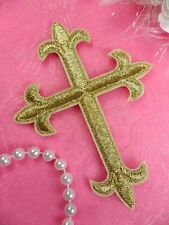 """Cross Applique Gold Metallic Embroidered Iron On Patch Crucifix 4"""" (GB404-gl)"""