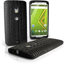 Nero Silicone Custodia Pneumatico per Motorola Moto X Play XT1562 Case Cover