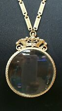 Florenza magnifying Glass Crown Necklace Gold Toned Metal VTG Signed